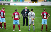 Press Eye - Belfast - Northern Ireland - 27th July 2020 - . Ballymena United FC v Coleraine FC Sadler\'s Peaky Blinder Irish Cup Semi Final at the National Football Stadium at Windsor Park.. Ballymena manager David Jeffrey brings out his team. . Photo by Jonathan Porter Press Eye.