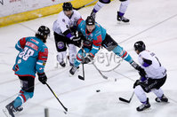 Press Eye - Belfast -  Northern Ireland - 10th March 2018 - Photo by William Cherry/Presseye. Belfast Giants John Kurtz with Braehead Clan\'s Brendan Brooks during Saturday evenings Elite Ice Hockey League game at the SSE Arena, Belfast.