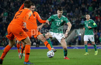 Press Eye - Belfast, Northern Ireland - 16th November 2019 - Photo by William Cherry/Presseye. Northern Ireland\'s Paddy McNair with Netherlands\' Davy Propper during Saturday nights UEFA Euro 2020 Qualifier at the National Stadium, Belfast.     Photo by William Cherry/Presseye
