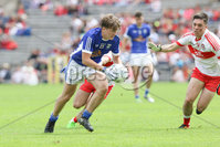 PressEye - Belfast - Northern Ireland - 16th July 2017. Ulster Minor Football Championship Final. Derry v Cavan. Pictured: Cavan\'s Oisin Pierson and Derry\'s Conor McCluskey.. Picture: Philip Magowan / PressEye