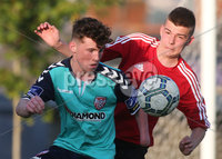 ©/Presseye.com - 17th July 2017.  Press Eye Ltd - Northern Ireland - Hughes Insurance Foyle Cup 2017- U-17 - Derry City V Willowbank FC (Belfast). Derry\'s Edward O\'Reilly and Williowbank\'s Ryan Paul Callaghan..  . Mandatory Credit Photo Lorcan Doherty / Presseye.com