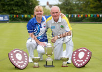 Press Eye Belfast - Northern Ireland 14th July 2017. Bangor Open Bowls Competition at Bangor Bowling Club. . Left to right.  Elaine Hastings from Ballywalter Bowling Club and her husband Robert from Bangor Bowling Club who won the Mixed Pairs competition.  Robert also won Men\'s Singles completion and player of the tournament. . Picture by Jonathan Porter/PressEye.com.