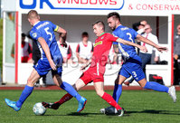 Danske Bank Premiership, Solitude, Belfast 9/9/2017 . Cliftonville vs Dungannon Swifts . Cliftonville\'s Daniel Hughes with Dungannon\'s David Armstrong(left) and Chris Hegarty. Mandatory Credit ©INPHO/Jonathan Porter