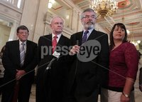 Northern Ireland- 11th June 2012 Mandatory Credit - Photo-Jonathan Porter/Presseye.  Sinn Fein hold press conference at the Great Hall in Stormont\'s Parliament Buildings in relation to political parties holding dual mandates.  Sinn Fein\'s Pat Doherty, Martin McGuinness, Party President Gerry Adams and Michelle Gildernew.