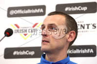 Press Eye - Belfast -  Northern Ireland - 27th April 2018 - Photo by William Cherry/Presseye. Coleraine\'s manager Oran Kearney pictured during Wednesday nights Tennents Irish Cup Press Conference at the National Stadium, Belfast.