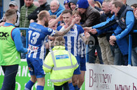 Danske Bank Premiership, The Ballymena Showgrounds, Co. Antrim 14/4/2018 . Coleraine vs Ballymena United.. Coleraine\'s Darren McCauley(centre) celebrates after he scores to make it 1-0. . Mandatory Credit ©INPHO/Jonathan Porter
