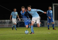 Danske Bank Premiership, Showgrounds, Ballymena.. 16/2/2021. Ballymena United  FC vs Coleraine FC . Ballymena United Conor Keeley    and Coleraine Evan Tweed  during Tuesday night\'s Danske Bank Premiership match at Ballymena Showgrounds.. Mandatory Credit  INPHO/Brian Little