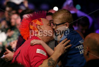 Press Eye - Northern Ireland - 20th April 2017 - Photographer - © Matt Mackey / Presseye.com. Betway Premier League Darts, Night 12, The SSE Arena, Belfast.. Peter Wright v James Wade. Peter Wright.