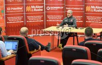 PressEye Belfast - Northern Ireland - 18th May 2017. Tyrone GAA press night at the Garvaghey Centre ahead of the Ulster Senior Football Championship tie against Derry.. Pictured: Tyrone manager Mickey Harte at the press night in Garvaghey. Picture by John Stafford/PressEye.com