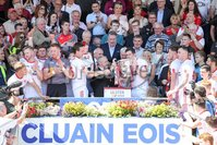 PressEye - Belfast - Northern Ireland - 16th July 2017. Ulster Senior Football Championship Final. Down v Tyrone. Pictured: The cup is presented to Sean Cavanagh.. Picture: Philip Magowan / PressEye