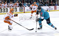 Press Eye - Belfast, Northern Ireland - 06th December 2019 - Photo by William Cherry/Presseye. Belfast Giants\' Jordan Smotherman with Sheffield Steelers\' Aaron Brocklehurst during Friday nights Elite Ice Hockey League game at the SSE Arena, Belfast.       Photo by William Cherry/Presseye