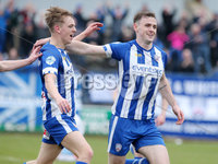 Danske Bank Premiership, The Ballymena Showgrounds, Co. Antrim 14/4/2018 . Coleraine vs Ballymena United.. Coleraine\'s Darren McCauley(right) celebrates after he scores to make it 1-0. . Mandatory Credit ©INPHO/Jonathan Porter