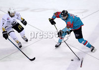 Press Eye - Belfast -  Northern Ireland - 12th January 2018 - Photo by William Cherry/Presseye. Belfast Giants Spiro Goulakos with Nottingham Panthers Robert Lachowicz during Friday nights Elite Ice Hockey League game at the SSE Arena, Belfast.