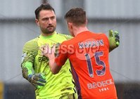 Danske Bank Premiership, The Showgrounds, Co. Derry 10/2/2018. Coleraine vs Glenavon. Glenavon\'s Johnathan Tuffey congratulated by Caolan Marron after saving a penalty. Mandatory Credit ©INPHO/Lorcan Doherty
