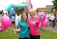Press Eye - Belfast - Northern Ireland - 5th June 2016 - . Anna Davidson and Alice Morrisey  take part in the first ever Centra 5k pairs run for Action Cancer at Ormeau Park.. Over 100 families, friends and colleagues paired up today (Sunday 5th June) for the inaugural Centra Run Together event at Ormeau Park, raising vital funds for local charity Action Cancer. . Run Together is a set of four 5k races taking place across Belfast, Mid Ulster and Derry between June and October which encourage you to run with your partner, son, daughter, friend or neighbour. . Picture by Kelvin Boyes / Press Eye . .