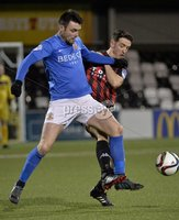 Press Eye - Northern Ireland -12th February 2016. Photograph:Presseye /Stephen Hamilton. Danske Bank Irish premier league match betweeen Crusaders and Glenavon at Seaview Belfast.. Crusaders Josh Robinson  in action with Glenavons Eoin Bradley