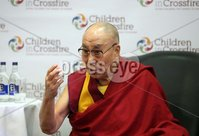 Monday 11th September 2017. Mandatory Credit ©Lorcan Doherty / Presseye . Children in Crossfire Compassion in Action Conference. His Holiness the 14th Dalai Lama  addressing the press conference.. . Children in Crossfire is delighted to announce that our patron, His Holiness the 14th Dalai Lama of Tibet will visit Derry/Londonderry on Sunday 10th and Monday 11th September to celebrate Children in Crossfire's 20 years of saving and changing lives. His Holiness will give a public talk at the Millennium Forum