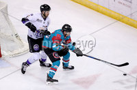Press Eye - Belfast -  Northern Ireland - 10th March 2018 - Photo by William Cherry/Presseye. Belfast Giants Brendan Connolly with Braehead Clan\'s Felix Poulin during Saturday evenings Elite Ice Hockey League game at the SSE Arena, Belfast.