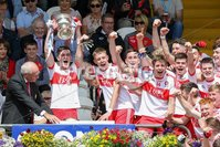 PressEye - Belfast - Northern Ireland - 16th July 2017. Ulster Minor Football Championship Final. Derry v Cavan. Pictured: Derry Captain Padraig McGrogan is presented with the cup.. Picture: Philip Magowan / PressEye