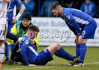 Danske Bank Premiership, Stangmore Park, Dungannon, Co. Tyrone 13/1/2018. Dungannon Swifts vs Coleraine. Dungannon\'s Douglas Wilson receives medical attention on the pitch . Mandatory Credit ©INPHO/Matt Mackey
