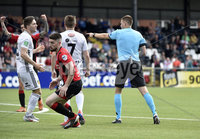 11th July 2019. Europa league First round qualifying match between Crusaders and B36 Torshavn at Seaview Belfast..  Torshavns Jonas Tor Naes pushes Crusaders Jordan Owens and gives away an early penalty. Mandatory Credit / Stephen Hamilton/Inpho