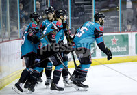Press Eye - Belfast -  Northern Ireland - 03rd March 2019 - Photo by William Cherry/Presseye. Belfast Giants\' Blair Riley celebrates scoring against Manchester Storm during Sunday afternoons Elite Ice Hockey League game at the SSE Arena, Belfast.