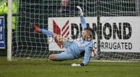 ©/Presseye.com - 19th May 2017.  Press Eye Ltd - Northern Ireland - Airtricity League Premier Division - Derry City V Shamrock Rovers. Shamrock Rovers\' \'keeper Tomer Chencinski unable to stop this penalty from Derry\'s Aaron McEneff.. Mandatory Credit Photo Lorcan Doherty / Presseye.com
