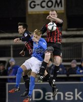Press Eye - Northern Ireland -12th February 2016. Photograph:Presseye /Stephen Hamilton. Danske Bank Irish premier league match betweeen Crusaders and Glenavon at Seaview Belfast.. Crusaders Jordan Owens  in action with Glenavons Mark Sykes