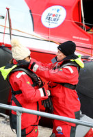 Press Eye - Belfast -  Northern Ireland - 06th March 2016 - Photo by William Cherry. Doon Mackichan helps The One Show presenter Alex Jones get ready for five days of nautical torture as they attempt to sail around the UK on the BT Sport Relief Challenge: Hell on High Seas. They were joined by fellow celebrities Angellica Bell, Hal Cruttenden, Ore Oduba and Suzi Perry in a mammoth challenge which will see them battle fearsome winds freezing temperatures and rough seas in a feat of pure physical mental and emotional endurance. The challenge is sponsored by BT a long-term supporter of Sport Relief challenges since 2009. Setting off from Belfast Harbour Marina on Monday 7th March the crew will attempt to sail to London around the north coast of the mainland in just 5 days finishing on Friday 11th March.