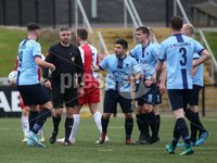 Danske Bank Premiership, Ryan McBride Brandywell Stadium, Derry, Northern Ireland 16/11/2019. Institute vs Linfield. Institute players appeal to referee Raymond Crangle after awarding a penalty. Mandatory Credit INPHO/Lorcan Doherty
