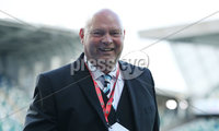 Press Eye-Belfast-Northern Ireland -27th July 2020. Sadlers\'s Peaky  Blinder Irish Cup Semi Final, National Stadium at Windsor Park, Belfast. . 27/7/2020. Ballymena United FC v Coleraine FC. Ballymena United\'s manager David Jeffrey all smiles  winning a penalty shoot-out against Coleraine.. Mandatory Credit  Brian Little/PressEye