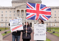 Press Eye - Belfast - Northern Ireland - 8th April 2021. Loyalists hold a protest at Carsons state on the grounds of Stormont Estate in east Belfast.  Several nights of unrest in loyalist areas as taken place in Belfast and other parts of Northern Ireland.  . The unrest has been blamed after tension due to the Irish Sea border and the Bobby Storey funeral. . Picture by Jonathan Porter/PressEye