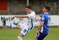 Press Eye - Danske Bank Premiership  - 12th August 2017. Dungannon Swifts v Coleraine. Photograph By Declan Roughan. Dungannon Swifts  Seanan Clucas. Coleraines Stephen O'Donnell