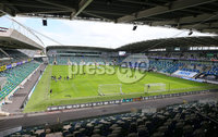 Press Eye - Belfast - Northern Ireland - 27th July 2020 - . Ballymena United FC v Coleraine FC Sadler\'s Peaky Blinder Irish Cup Semi Final at the National Football Stadium at Windsor Park.. The teams warm up ahead of the match. . Photo by Jonathan Porter Press Eye.