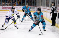 Press Eye - Belfast -  Northern Ireland -16th November 2019 - Photo by Darren Kidd/Presseye . Belfast Giants\' Ryan Lowney with Dundee Stars during Saturday nights Elite Ice Hockey League game at the SSE Arena, Belfast.    Photo by Darren Kidd/Presseye