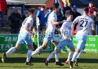Danske Bank Premiership at Coleraine Showgrounds, Coleraine  09.03.2019. Coleraine FC Vs Ballymena United. . Ballymena\'s Andrew McGrory(second from right) celebrates after scoring to make it 0-1. . . Mandatory CreditINPHO/PressEye.com/Jonathan Porter.