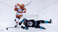 Press Eye - Belfast -  Northern Ireland - 06th January 2019 - Photo by William Cherry/Presseye. Belfast Giants\' Patrick Dwyer with Sheffield Steelers\' Aaron Johnson during Sunday afternoons Elite Ice Hockey League game at the SSE Arena, Belfast.    Photo by William Cherry/Presseye