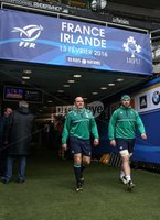 Ireland Rugby Captain\'s Run, Stade de France, Paris, France 12/2/2016. Rory Best and Sean O\'Brien arrive for today\'s Captain\'s Run. Mandatory Credit ©INPHO/Billy Stickland.