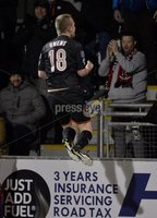 Press Eye - Northern Ireland -12th February 2016. Photograph:Presseye /Stephen Hamilton. Danske Bank Irish premier league match betweeen Crusaders and Glenavon at Seaview Belfast.. Crusaders Jordan Owens  celebrates after he heads in at the back post to draw the side level at 1-1