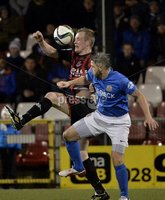 Press Eye - Northern Ireland -12th February 2016. Photograph:Presseye /Stephen Hamilton. Danske Bank Irish premier league match betweeen Crusaders and Glenavon at Seaview Belfast.. Crusaders Jordan Owens  in action with Glenavons David Elebert