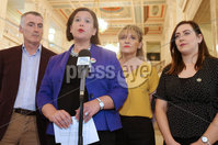Press Eye - Belfast - Northern Ireland - 14th May 2018. Sinn Féin President Mary Lou McDonald TD speaks to the media on Brexit in the Great Hall, Parliament Buildings, Stormont.. Picture by Jonathan Porter/PressEye