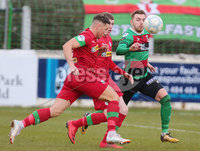Danske Bank Premiership at the Oval in Belfast . 07.03.2020. Glentoran Vs Cliftonville. Glentorans Ruaidhri Donnelly with Cliftonvilles  Conor McDermott. Mandatory Credit INPHO/Jonathan Porter