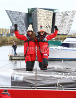Press Eye - Belfast -  Northern Ireland - 06th March 2016 - Photo by William Cherry. The One Show presenter Alex Jones and Suzi Perry get ready for five days of nautical torture as they attempt to sail around the UK on the BT Sport Relief Challenge: Hell on High Seas. They were joined by fellow celebrities Angellica Bell, Hal Cruttenden, Ore Oduba and Doon Mackichan in a mammoth challenge which will see them battle fearsome winds freezing temperatures and rough seas in a feat of pure physical mental and emotional endurance. The challenge is sponsored by BT a long-term supporter of Sport Relief challenges since 2009. Setting off from Belfast Harbour Marina on Monday 7th March the crew will attempt to sail to London around the north coast of the mainland in just 5 days finishing on Friday 11th March.