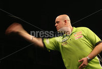 Press Eye - Northern Ireland - 20th April 2017 - Photographer - © Matt Mackey / Presseye.com. Betway Premier League Darts, Night 12, The SSE Arena, Belfast.. Michael van Gerwen v Raymond van Barneveld.