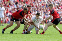 Ulster GAA Senior Football Championship Final, St Tiernach\'s Park, Clones, Co. Monaghan 16/7/2017. Down vs Tyrone. Tyrone\'s Matthew Donnelly with Down\'s Peter Turley and Conor Maginn. Mandatory Credit ©INPHO/Presseye/Philip Magowan