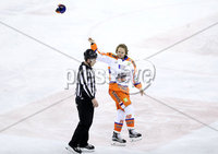 Press Eye - Belfast -  Northern Ireland - 06th January 2018 - Photo by William Cherry/Presseye. Sheffield Steelers Andreas Jamtin is given a game penalty after his challenge on Belfast Giants David Rutherford during Saturday nights Elite Ice Hockey League game at the SSE Arena, Belfast