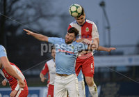 Danske Bank Premiership, The Showgrounds Ballymena 5/04/2019. Ballymena United v Linfield. Ballymena\' s Johnny McMurray  with Linfield\'s Jimmy Callacher. Mandatory Credit INPHO/Stephen Hamilton.