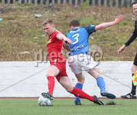 Danske Bank Premiership, Solitude, Belfast 14/4/2018 . Clliftonville vs Glenavon. Clliftonville\'s Christopher. Curran in action with Glenavon\'s Bobby. Burns. Mandatory Credit ©INPHO/Matt Mackey