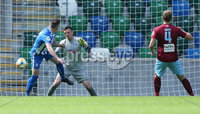 Press Eye-Belfast-Northern Ireland -27th July 2020. Sadlers\'s Peaky  Blinder Irish Cup Semi Final, National Stadium at Windsor Park, Belfast. . 27/7/2020. Ballymena United FC v Coleraine FC. Ballymena United\'s  goal keeper Ross Glendinning      and Stephen O\'Donnell  of Coleraine.. Mandatory Credit  Brian Little/PressEye