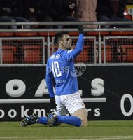 Press Eye - Northern Ireland -12th February 2016. Photograph:Presseye /Stephen Hamilton. Danske Bank Irish premier league match betweeen Crusaders and Glenavon at Seaview Belfast.. Glenavons Eoin Bradley celebrates after putting Glenavon 1-0 up